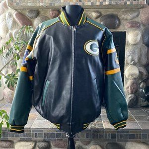 Packers Faux Leather Coat XL